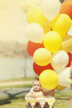 Baby, high chair & balloons--Dont FORGET THE HIGH CHAIR DECORATIONS!