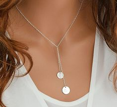 Check out Personalized Y Necklace, Engraved Disc Necklace Gold, Silver, Rose Gold, Lariat Necklace, Initial Disc, Personalized Initial Necklace on goldenbijoux