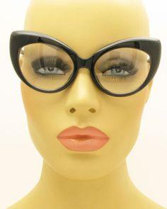 Clear-Lens-Womens-Fashion-Cat-Eye-Eyeglasses-Black-Frame-Vintage-Retro-Style
