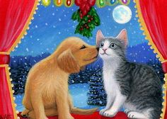 Kitten-cat-puppy-dog-Christmas-kiss-mistletoe-snow-original-aceo-painting-art