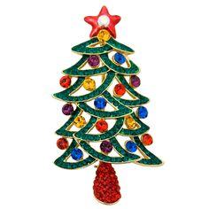 Crystal Christmas Tree Brooch