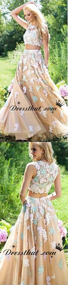 2016 prom dress, sexy two-piece prom dress, applique champagne prom dress, a-line crew prom dress Prom Dresses 2016, Dresses Dresses, Spring Dresses, Cute Dresses, Beautiful Dresses, Dress Outfits, Bridesmaid Dresses, Wedding Dresses, Fashion Styles