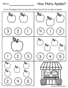 pre-k and kindergarten This Back to School Math and Literacy Packet is perfect for the beginning months of August and September. The worksheets are themed with apples and back to school graphics while… Nursery Worksheets, Kindergarten Math Worksheets, Preschool Education, Preschool Learning Activities, Preschool Lessons, Preschool Activities, Numbers Preschool, Math For Kids, Apples