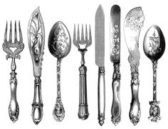 Free Vintage Graphics: Cutlery & Tea Pots - ...Along the Left Bank…Along the Left Bank