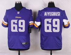 Men's Minnesota Vikings #69 Babatunde Aiyegbusi Purple Team Color NFL Nike Elite Jersey