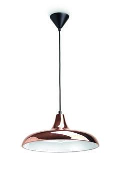 SURREY - lampa wisząca w stylu retro. Wykonana z metalu, na zewnątrz lśniąco-miedziana, wewnątrz głęboko biała - skutecznie przyciąga wzrok.Minimalna wysokość - 25  cm, maksymalna wysokość - 178  cm, długość - 39,5  cm, szerokość - 39,5  cm #Philips #Lighting #PhilipsShowroom #oświetlenie #salonu #sypialni #kuchni #jadalni