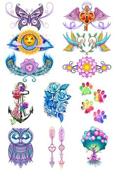 Pastel Mix Temporary Tattoo Set Our pastel temporary tattoos are light and airy designs full of subtle, soft hues. This beautiful and colorful tattoo line is for those who like delicate designs. Series of 12 Tattoo designs includes: Anchor Arrows Balloon Tree Blue Roses Butterfly Eyes Dog Paws Feathers Flowers Owl Spar