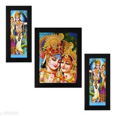 Paintings & Posters Colorfull Wall Paintings (Set Of 3)  *Material* Wood & Plastic  *Size* Frame 1 (L x W) - 6 In x 13 In, Frame 2 (L x W) - 10.2 In x 13 In, Frame 3 (L x W) - 6 In x 13 In  *Description* It Has 3 Pieces Of Frames With Paintings (Glass Is Not Included)  *Work* Printed  *Sizes Available* Free Size *   Catalog Rating: ★4.1 (1100)  Catalog Name: Spiritual Colorfull Wall Paintings Combo Vol 1 CatalogID_195713 C127-SC1611 Code: 503-1505600-