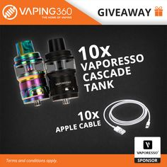 10 x Vaporesso Cascade Tank and 10 x Apple Cable