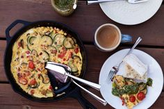 Summer Bounty Frittata with peppers, courgette, tomatoes and basil
