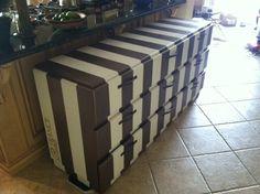 9 Drawer dresser/console - gold/white metallic striped. $350.00, via Etsy.