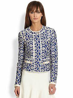 Короткий пиджак + платье клеш до середины бедра = длинные ноги Diane von Furstenberg Maelee Jacquard Jacket