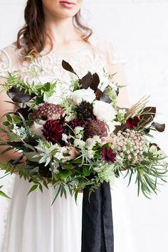 Luxe Black Greenery Wedding Inspiration - Bridal bouquet