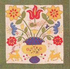 Album Quilt detail, 1850. Baltimore Co, Maryland.