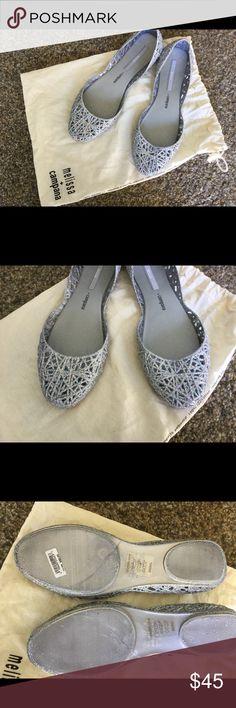 Melissa & Campana flats Silver glitter flats with bag nwot Melissa & Campana Shoes Flats & Loafers