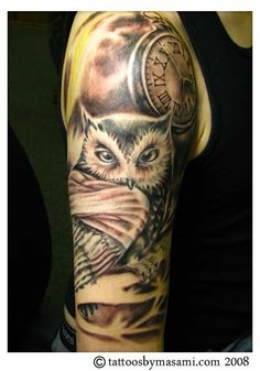 owl with clock tattoo--this is very similar to an idea I have! <3 #tattoo