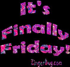 Its Finally Friday Pink Glitter Glitter Graphic, Greeting, Comment, Meme or GIF