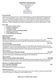 customer service sales cv examples httpjobresumesamplecom146 - Resume Template No Work Experience