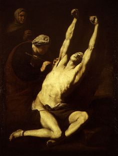 Jusepe de Ribera, St. Sebastion Healed by St. Irene, followed Carravagio and the style of Tenebrosi