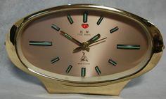 Vintage Retro 1960s Five Rams 8 day Golden Alarm Clock Wind up