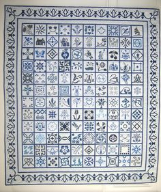 """Dutch Treat quilt.  Designs inspired by Delft China. 4.5"""" blocks."""