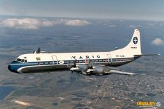 Varig Lockheed Electra PP-VJW in flight over Porto Alegre, April (Photo: Henry Tenby) Commercial Plane, Commercial Aircraft, Civil Aviation, Power To Weight Ratio, Air Travel, Panama, Vehicles, Airplanes, Brazil