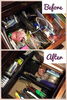 Before and after of junk drawer that was decluttered as part of the #Declutter365 missions on Home Storage Solutions 101