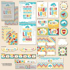 Retro Rainbow Baby Shower The Hostess PRINTABLE Party by HWTM, $22.00