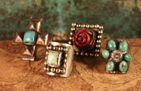 """MAD COW EDGY & UNIQUE TURQ/CORAL RING!  IF YOU'VE BEEN A FAN OF COWGIRL KIM FOR LONG, YOU KNOW I LOVE """"DIFFERENT'! THESE RINGS """"DID IT…  $99.00"""