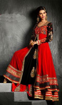 Black and Red Georgette Long Length Anarkali Suit