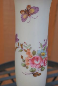 Vintage Lefton Japan Floral Butterfly Vase by MyBlueBag on Etsy, $12.00