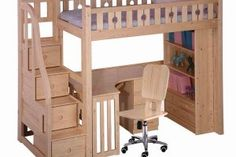 Bunk bed desk and stairs with storage