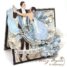 "Wow..! Absolutely gorgeous card - by Nancy Dynes. Papers from MajaDesign's collection ""Celebration"". #card #cardmaking #cardinspiration #papercraft #papercrafting #papercrafts #scrapbooking #majadesign #majadesignpaper #majapapers #inspiration #vintage #celebration"