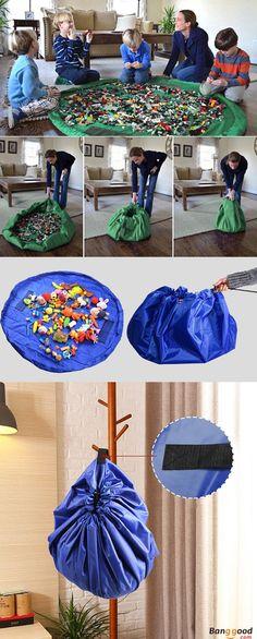 US$7.99 + Free Shipping.Toy Storage Bag. 4 colors available.  No More Mess. Shop at banggood. #kids#toys#housekeeping#storage#homedecor#home#playroom#diy