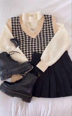 Kpop Fashion Outfits, Girls Fashion Clothes, Winter Fashion Outfits, Korean Outfits, Cute Casual Outfits, Pretty Outfits, Stylish Outfits, Trendy Fashion, Vintage Fashion
