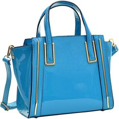 Dasein Patent Leather Winged Tote Satchel Tote ($41) ❤ liked on Polyvore featuring bags, handbags, tote bags, blue, manmade handbags, blue tote bag, blue satchel, blue tote, zip top tote bag and man bag