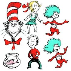 CAT IN THE HAT CHARACTERS! These two-sided Dr. Seuss characters make a great bulletin board or wall display for Read Across America. You can find many more Cat In The Hat items on our site!