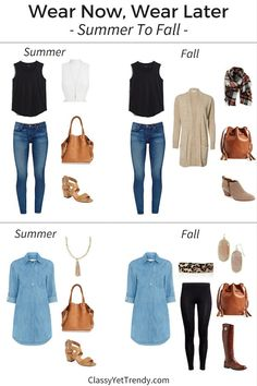 Wear Now, Wear Later: Summer To Fall - Classy Yet Trendy See how to transition your summer outfits into the fall season! Fall is just around the corner! And, time to start thinking about what to w Fall Transition Outfits, Fall Winter Outfits, Autumn Winter Fashion, Summer Outfits, Summer Clothes, Fall Wardrobe, Capsule Wardrobe, Mom Wardrobe, Wardrobe Staples
