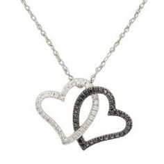 Sterling Silver 1/4ct TDW White and Black Diamond Heart Necklace (I-J, I1-I2)