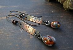 Encounter the Wilderness - OOAK rustic primitive african tribal hammered copper and lampwork drops earrings. by PreciousViolet on Etsy