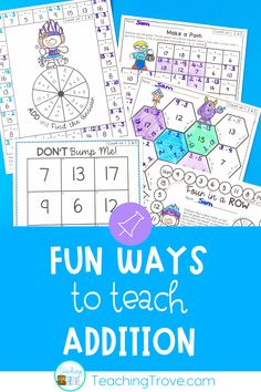 Teach addition strategies to your first grade and second grade students. Use the addition flip book to teach strategies such as count ons, doubles, near doubles, making a ten. Practice each strategy with five fun and motivating printables. This math pack is perfect for developing fact fluency and can be used in math centers, for partner work, morning work or extra activities for early finishers. Great for homeschool too. #mathgames #additionstrategies #additiongames