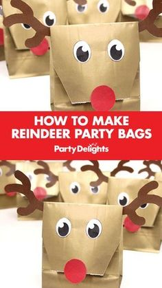 6 Reindeer Craft Ideas for Kids This Christmas Have a go at making our DIY reindeer party bags for your Christmas party. A cute Christmas party bag idea that takes minutes to make. A fun Christmas craft for kids. School Christmas Party, Christmas Holidays, Christmas Party Games For Kids, Xmas Party Ideas, Christmas Crafts For Kids To Make At School, Goodie Bags For Christmas, Kids Holiday Crafts, Christmas Crafts For Gifts For Adults, Christmas Classroom Treats