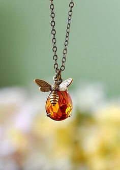 Honey Bee Necklace. Swarovski Golden Topz Crystal Pendant Necklace, Bumble Bee Necklace, Bee Jewelry, Gift for Bee Keeper Bee Lover by LeChaim on Etsy https://www.etsy.com/listing/226647816/honey-bee-necklace-swarovski-golden-topz