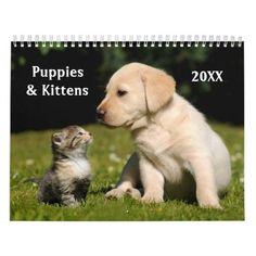Puppies and Kittens Custom Calendar #cat #cats #kitten #catproducts
