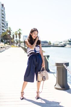 OUTFIT POST: Nautical outfit inspired by summer by the sea.     See more on: http://www.kisforkani.com/2015/12/new-silhouettes/