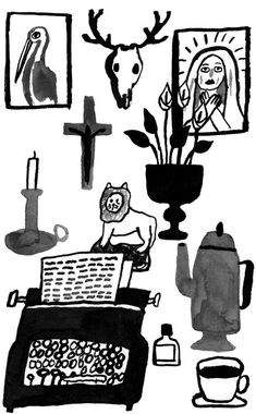 Illustration for an essay about Flannery O'Connor by Karin Hagen.