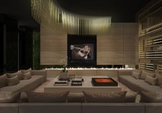 Cinematic Den. Pure theatrix. Private cinema penthouse.. interior design by Team Eric Kuster!