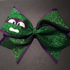 3in. Glitter TMNT Cheer Bow ($15) ❤ liked on Polyvore featuring accessories, hair accessories, glitter elastic headbands, hair bands accessories, headband hair accessories, glitter headbands and head wrap headband