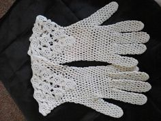 Latest Listing - Heavy cotton crochet gloves, Ivory, floral cuff, £11 free P&P
