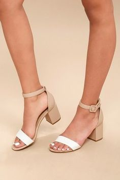 408c6072911 All In White and Nude Ankle Strap Heels  AnklestrapsHeels Nude Shoes